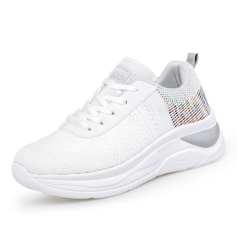 STQ New Summer Flat Platform Women Shoes Breathable Mesh Casual Shoes Woman Heighten Increase Ladies Shoes Zapatillas Mujer K06