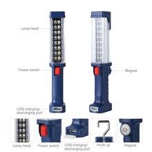 Poderosa lanterna de trabalho super brilhante usb recarregável lâmpada de trabalho magnético pendurado gancho embutido bateria tocha luz ao ar livre