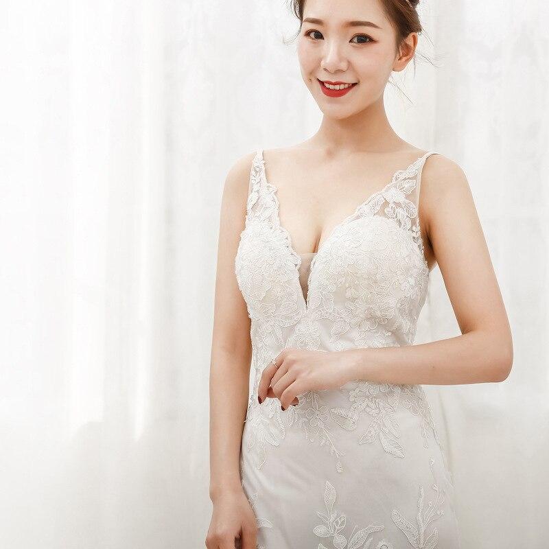 Sexy Mermaid Kant Bruidsjurken Spaghettibandjes V hals Bridal Wedding Gown Aangepast Formaat Kleur - 3