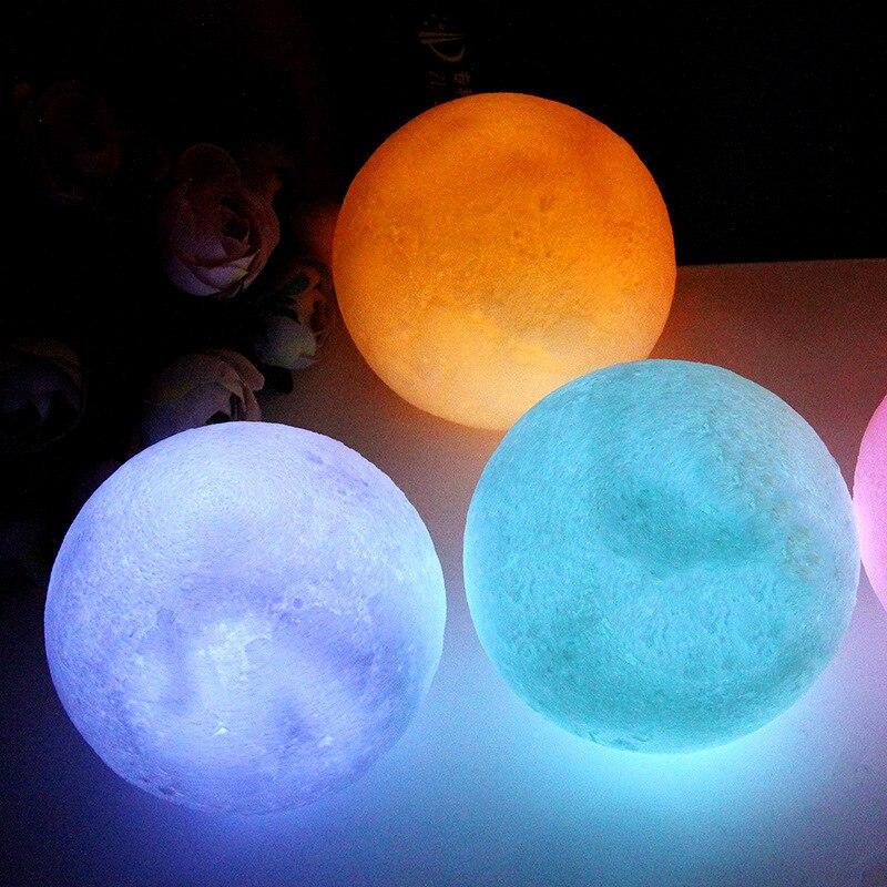 Lampe lune 4 couleurs 3D LED blanc bleu rose jaune nuit pour enfants livraison gratuite