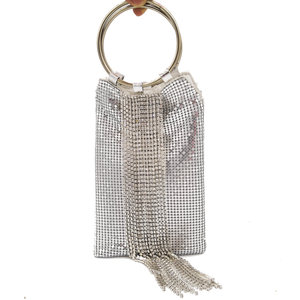 Image 4 - Boutique De FGG Dazzling Silver Crystal Tassel Women Aluminum Evening Purse Cocktail Party Wristlets Clutch Handbag