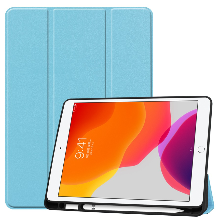 blue Orange Slim Smart PU Leather Case For Apple iPad 10 2 2019 with Pencil Holder Cover For
