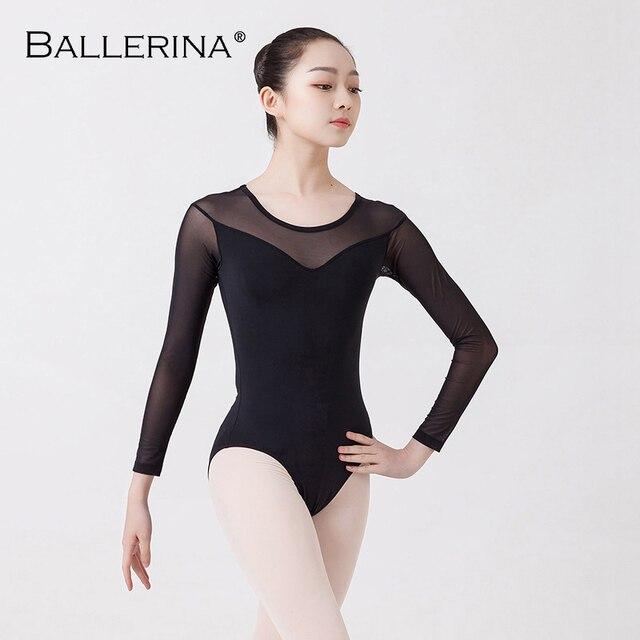 Balet taniec praktyka trykot dla kobiet balet adulto kostium czarna siatka z długim rękawem gimnastyka trykot baleriny 5876