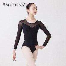 Ballet danse pratique justaucorps pour femmes ballet adulto Costume noir maille manches longues gymnastique justaucorps ballerine 5876