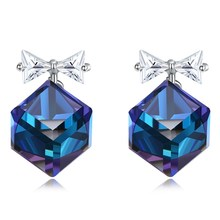 Blue Crystal Romantic New S925 Sterling Silver Stud Earrings Bow Cute Ornament Square Fashion