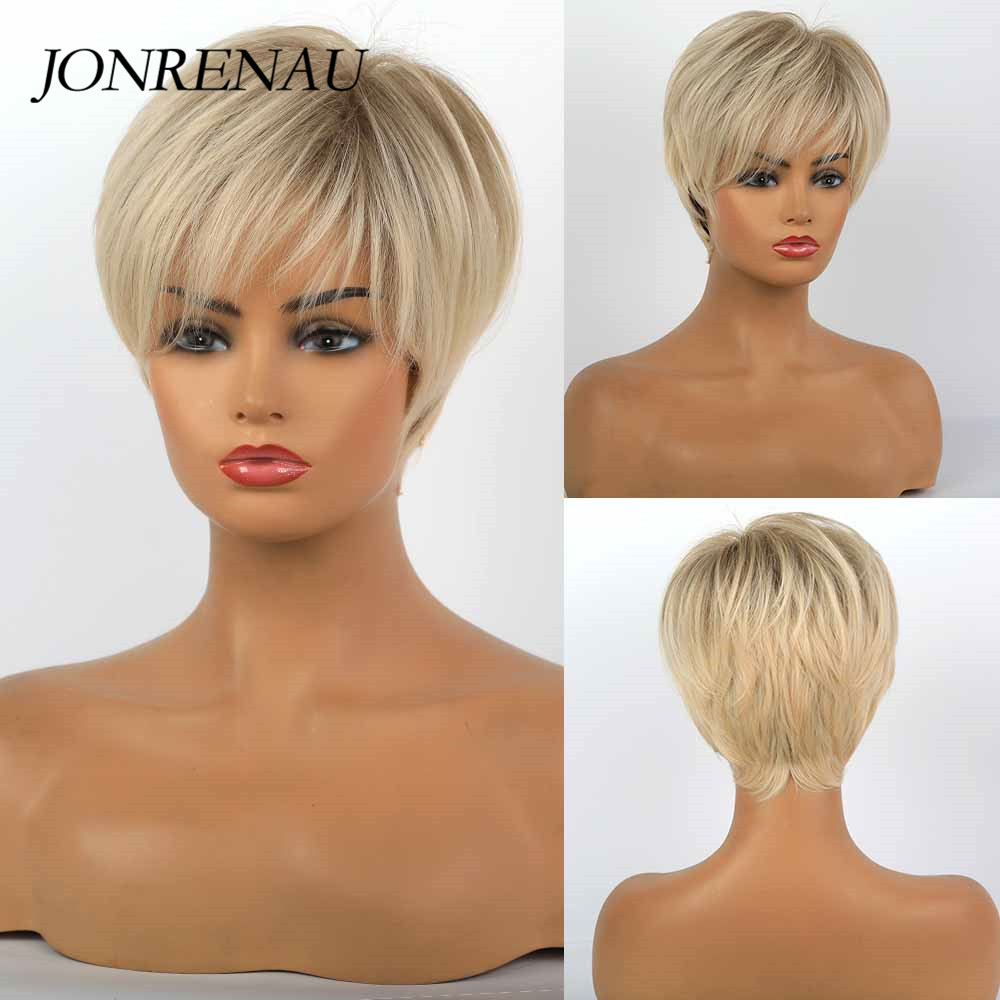 JONRENAU 8 Inches Synthetic Short Straight Wig Light Blonde Brown Wigs With Bangs Pixie Cut Wigs For White Black Women