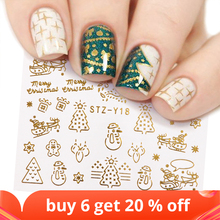 1 Pcs Gold Silver Christmas Design Nail Art Stickers Winter Snow Flower Sliders Water Decals for Nails Manicure Tool LASTZ YA 2