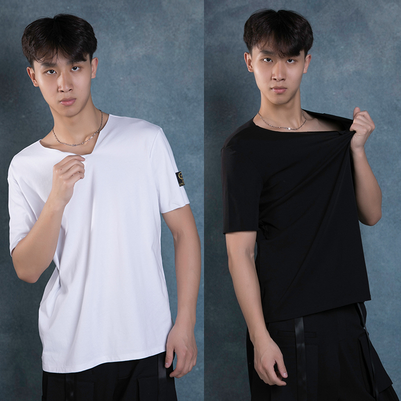 New Latin Dance Tops Black/White Shirts 2019 Adult Latin Dance Dress Men's Modern Dancing Irregular Collar Men's T-Shirt BL2727