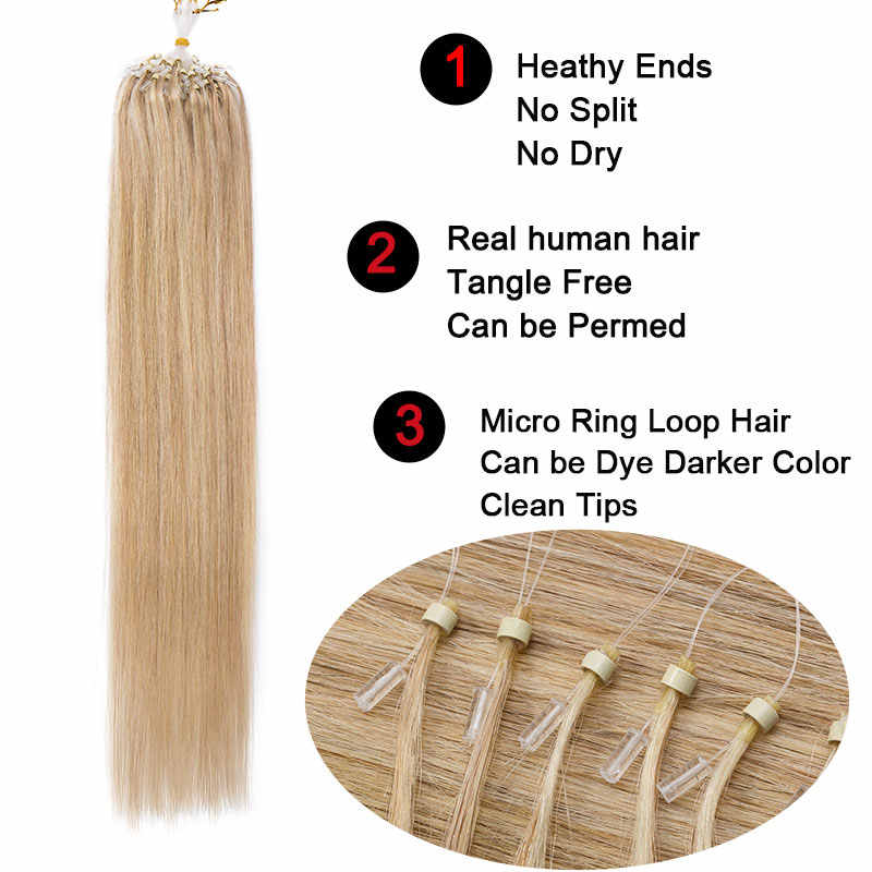 """SEGO 16""""-24"""" 0.5g/s 100Strands Straight Micro Bead Hair Extensions Human Hair Non-Remy Micro Loop Ring Natrual Blonde Hair"""