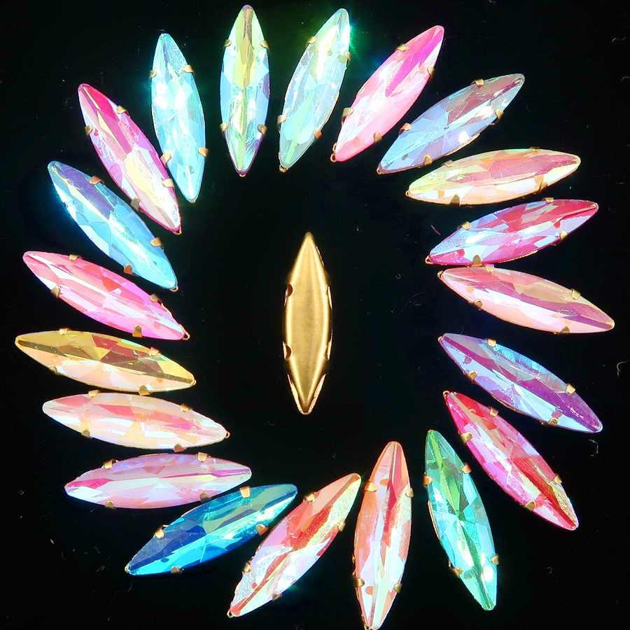 Oro le impostazioni di artiglio di 50 pcs/p 4*15mm della caramella della gelatina AB di Cristallo di vetro Navette Marquise Cuce sul rhinestone di forma cristalli di capi di abbigliamento fai da te