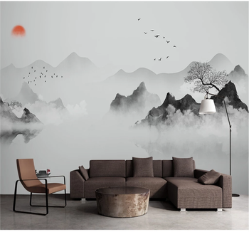 xuesu Customized 3d wallpaper new Chinese ink landscape decorative painting mural background wall