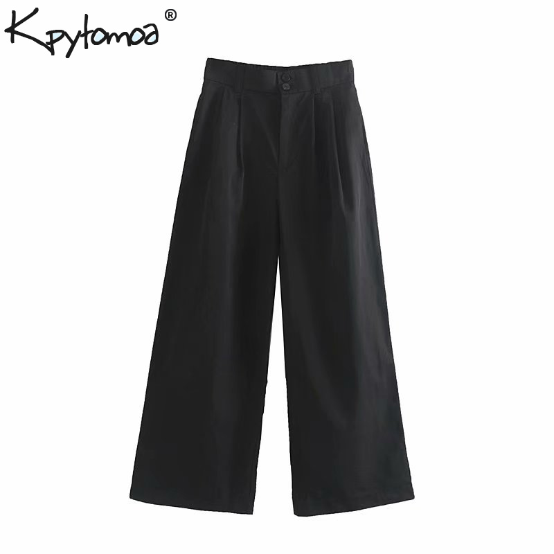 Vintage Elegant Pockets Technical   Wide     Leg     Pants   Women 2019 Fashion High Elastic Waist Zipper Fly Trousers Pantalones Mujer