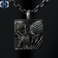 Original Design Handmade Silver Love To Die 925 Silver Pendant Punk Necklace Men And Women
