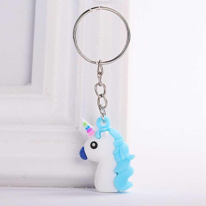 Pvc macio dos desenhos animados unicórnio chaveiro de borracha 3d animal bonito cavalo chaveiro chaveiro pingente chave titular