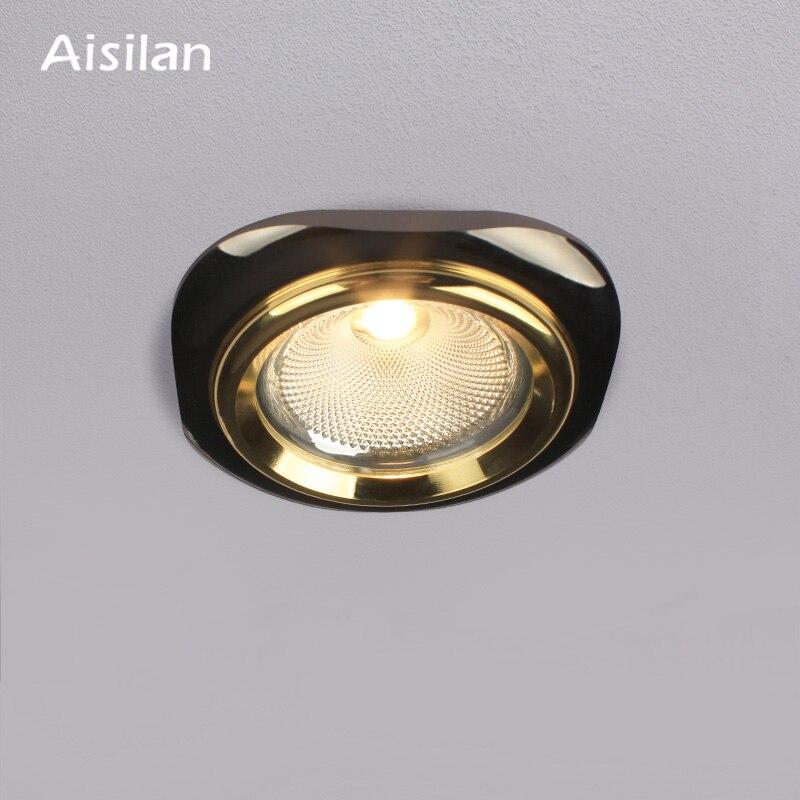 Aisilan Светодиодный точечный потолочный светильник светодиодный светильник Черное золото, серебро, алюминий четырехсторонний Встраиваемый ...