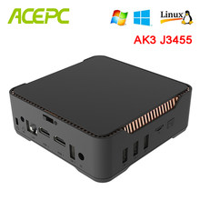 AK3V Mini PC Win10 Intel Apollo See Celeron J3455 6GB 64GB 2,4 GB/5 GB Dual WIFI 1000M LAN BT HDMI VGA HD WIN 10 LINUX Nettop PC(China)
