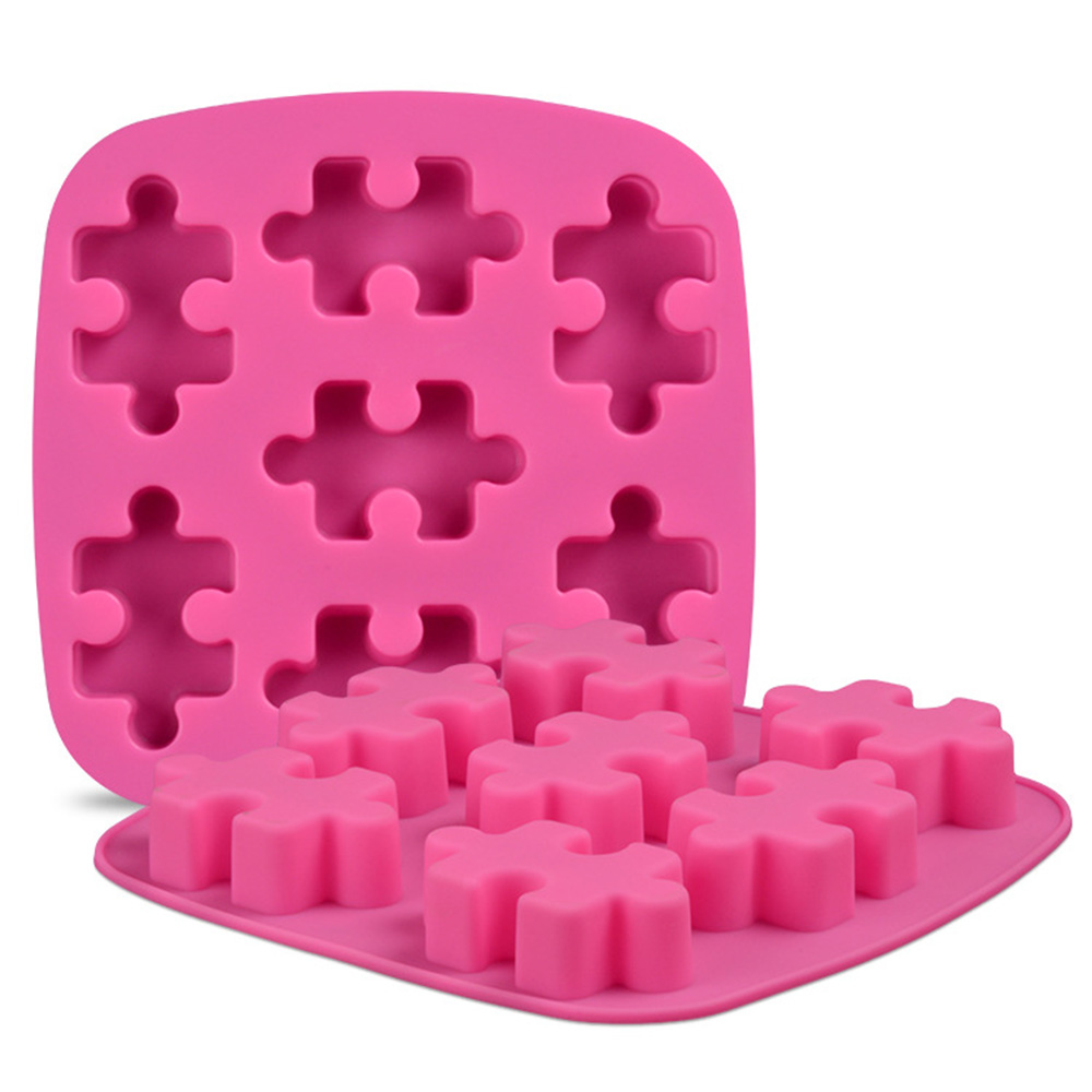 1Pc Creative Puzzle Shape Silicone Soap Mold Aroma Plaster Gypsum Mould DIY Ice Cube Tray Molds Chocolate Cake Decorating Tools