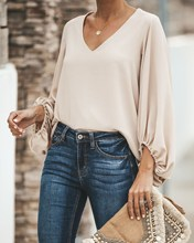 Fashion 2019 Womens Casual Sweet & Cute Loose Shirt Balloon Sleeve V-Neck Blouse Top