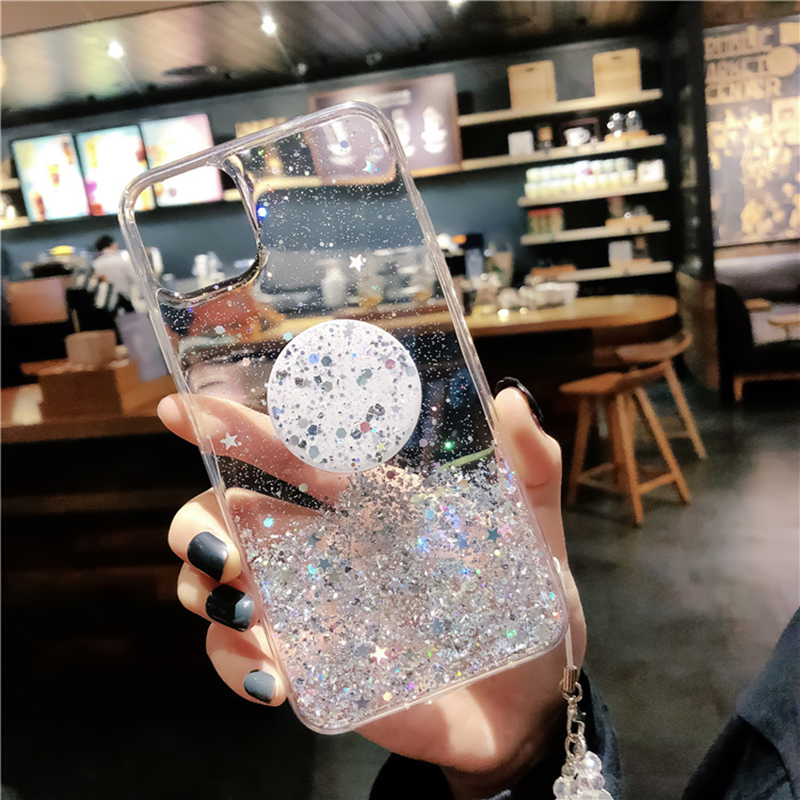 Glitter Star Silicone Case For Xiaomi Redmi Note 8 7 K20 Pro Phone Cover For Mi A3 A2 9 Lite CC9 9T CC9e With Holder Bling Cover image