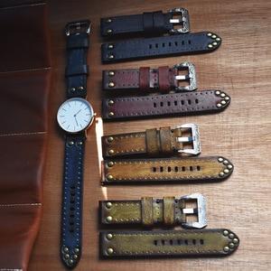 Image 5 - Correa de reloj de cuero de vaca Vintage de bronce Retro para hombre, tachuelas de cobre oxidado, hebilla de diseño tallados, relojes antiguos
