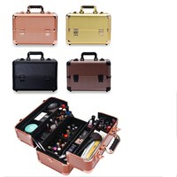 Fashion Makeup Storage Box 4 Colors Cosmetic Travel Case With Shoulder Belt Portable Toiletry Cosmetic Box Makeup Organizer Bag