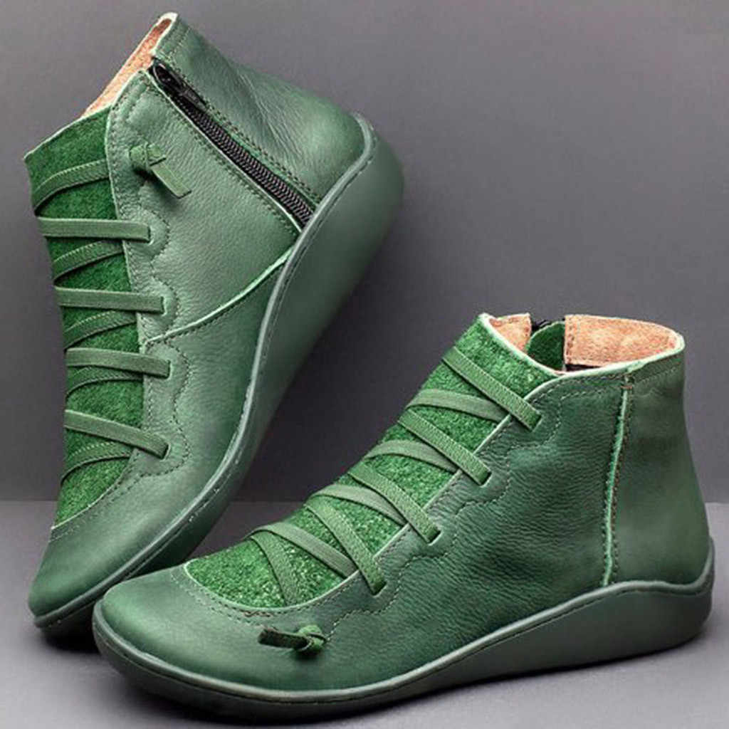 Botas de cabeza redonda de tacón plano de mujer botas casuales de cuero Retro con cordones zapatos de punta redonda con cremallera lateral botas de nieve para mujer