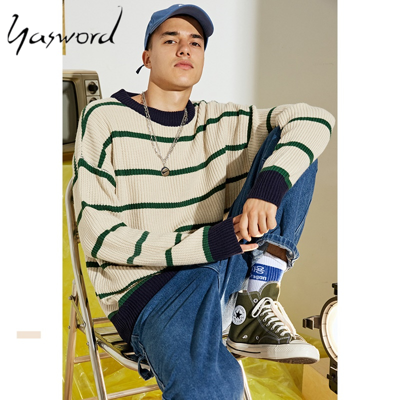 Yasword Men Sweater Casual Knitting Round Neck Wool Striped Loose Warm Man Knitted Sweatercoat Male High Tops Pullover