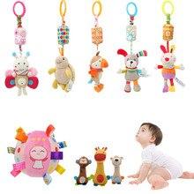 Yenidoğan bebek peluş arabası oyuncak bebek çıngıraklar cep telefonu karikatür hayvan asma çan eğitici bebek oyuncakları 0 12 ay için Speelgoed