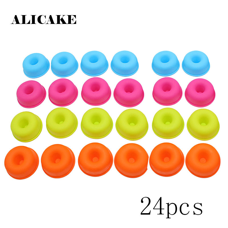 24 Pcs/Set Silicone Muffin Cup Round Donut Mini Cake Cup Liner Reusable Non-Stick Food Grade Baking Tools Kitchen Gadget