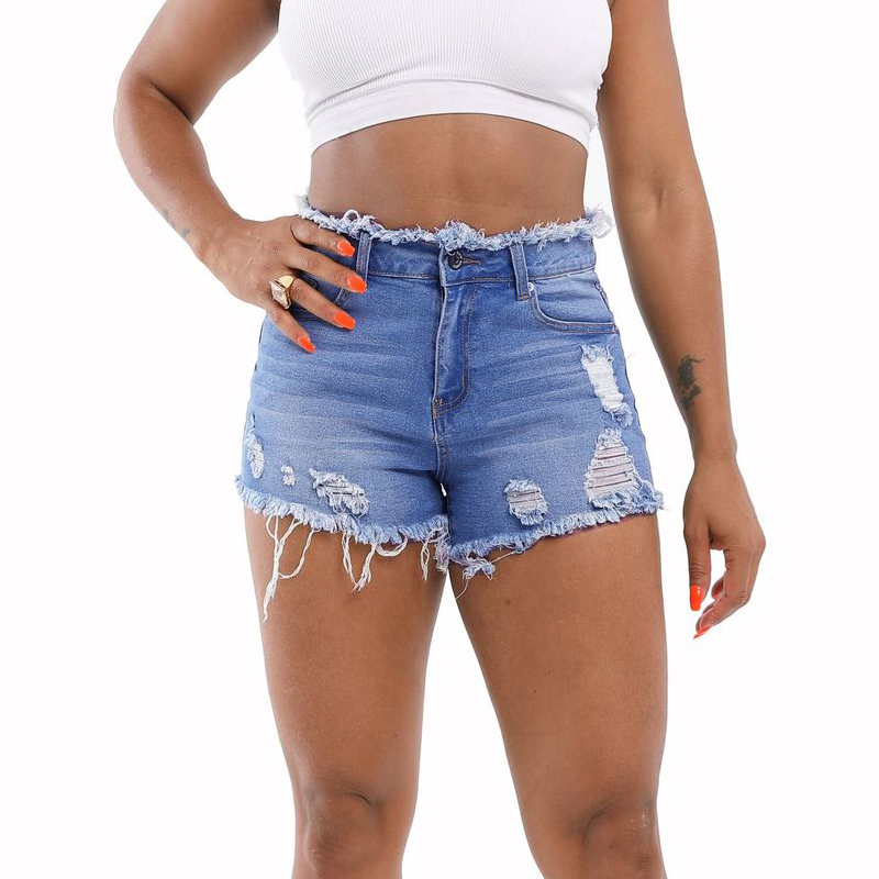 Plus Size Summer Casual Women Denim Shorts High Waists Tassel Hole Fur-lined Leg-openings Short Jeans