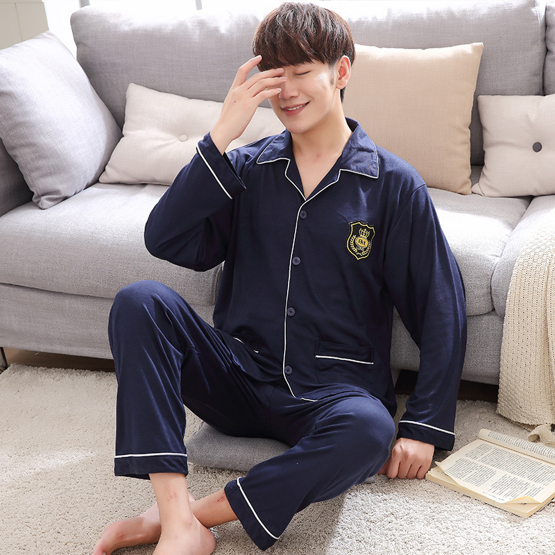 Spring Knitted Mens Pajama Set Cardigan Fold-down Collar Middle-aged Tracksuit Autumn MEN'S Wear Long Sleeve Pajamas