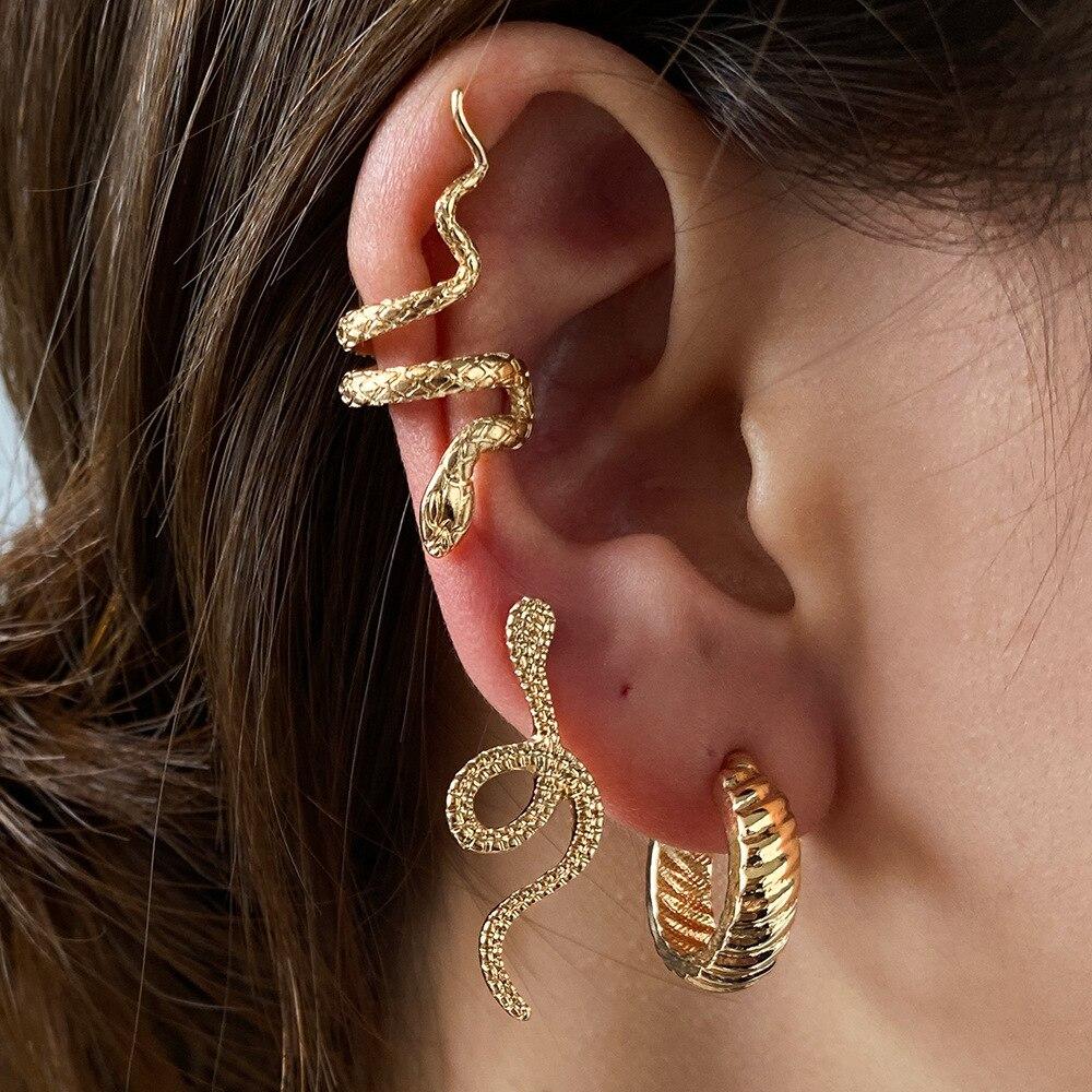 3PC Brass Snake Earing Clips Without Piercing Punk Non Pierced Clip Earrings Ear Cuffs for Women Men Black Fake Piercing Jewelry