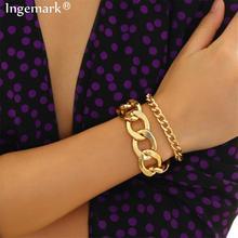 Ingemark 2 шт./компл. змея цепочка Браслеты браслеты браслет Femme вспомогательные Женская обувь в стиле «панк» на толстом браслет-цепочка, ювелирное изделие для пары
