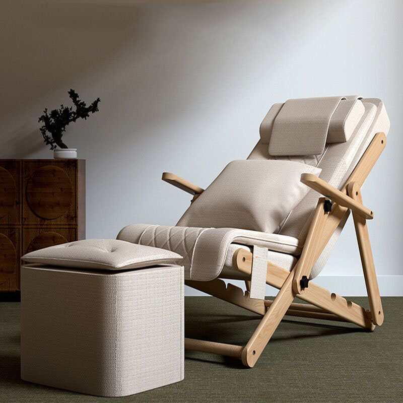 Solid Wood Folding Massager Massage Chair Electric Household Lounge Chair Whole Body Small  Positive And Negative Kneading
