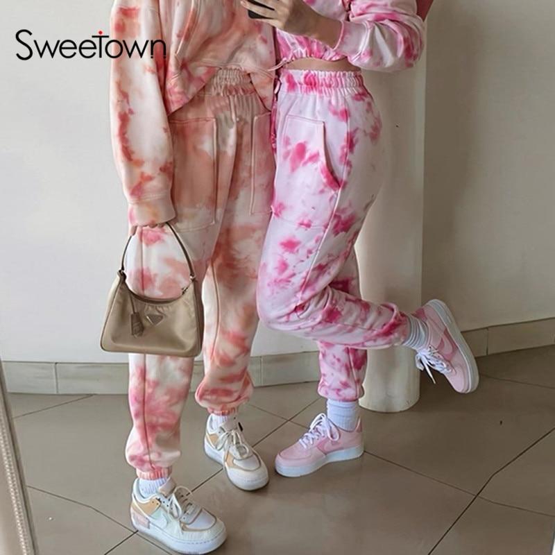 Sweetown Tie Dye Print Casual Womens Jogger Sweatpants High Waist Running Harem Pants Female Pockets Hip Hop Streetwear Trousers