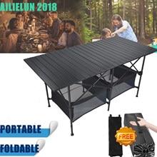 Dobrável mesa de acampamento ao ar livre churrasco backpacking liga alumínio portátil durável churrasqueira mesa mobiliário computador cama leve