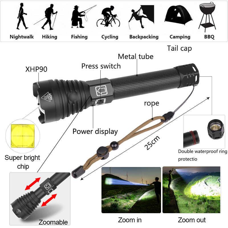 Potente linterna LED XHP50 XHP70.2 XHP90 linterna recargable Super impermeable Zoom mejor para Camping pesca caza Luz