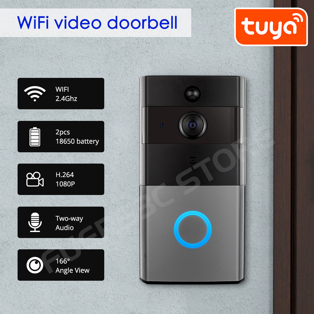 Wireless WIFI Doorbell Camera 1080P Home Security Night Vision Camera Doorbell With Camera Tuya App Control