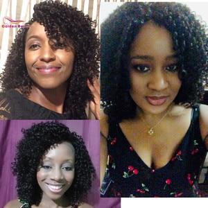 Image 2 - 14 אינץ קצר שיער קינקי קרלי סינטטי פאת תחרה מול פאה אפריקאי אמריקאי פאות עבור נשים שחורות זהב יופי