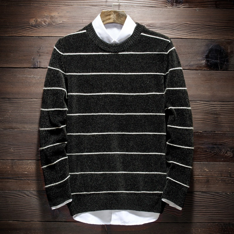 MRMT 2020 Brand New Men's Sweater Fashion Striped Casual Pullover For Male Crew Neck Sweater Clothing