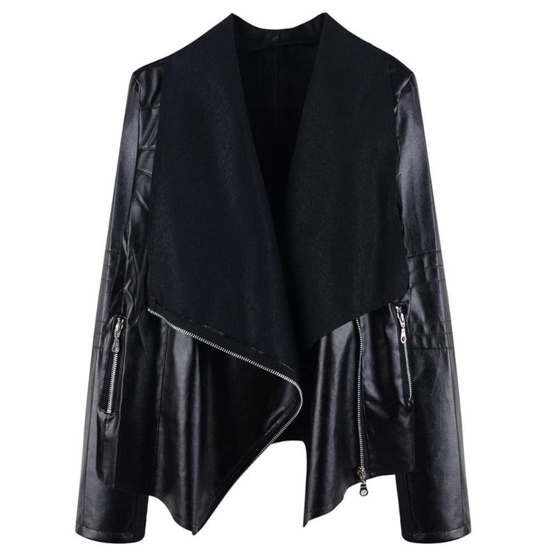 New Fashion Women Autumn Winter Black Faux Leather Jackets Autumn Slim Cool Lady Zipper Turn-down Collar Streetwear Outwear