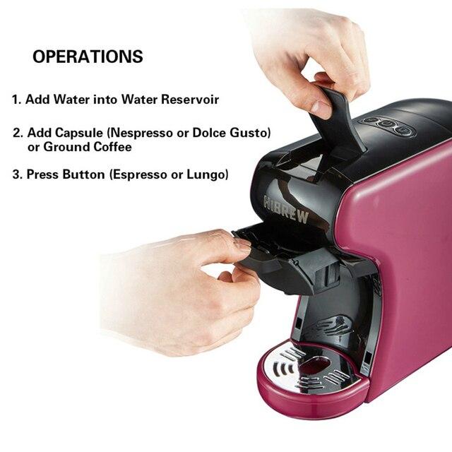 HiBREW Espresso Coffee Machine 3-In-1 Multi-Function;Coffee Maker,Espresso Maker,Dolce gusto capsule coffee machine, 3