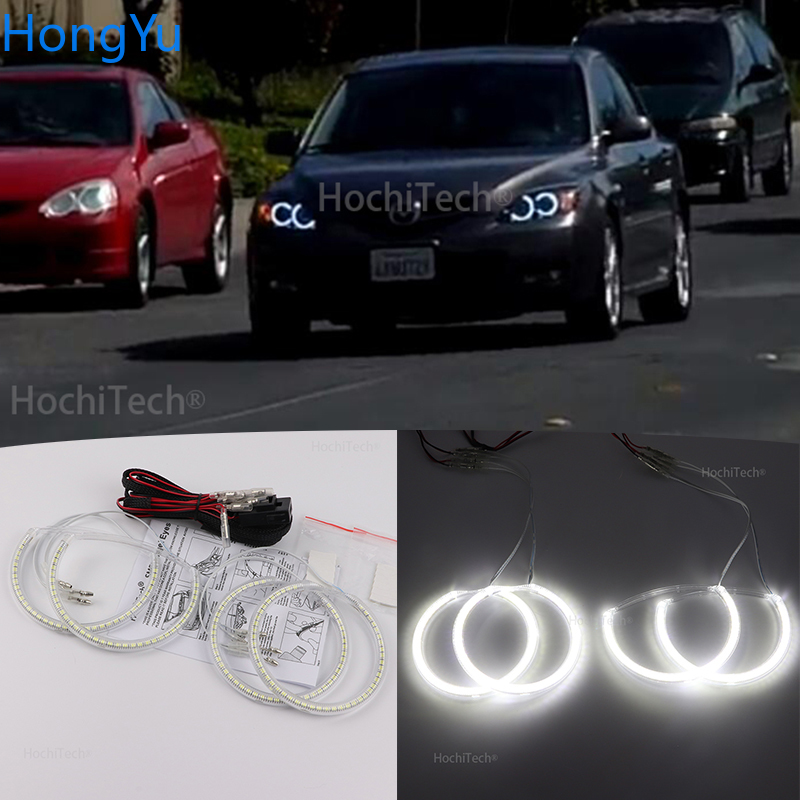 For Mazda 3 <font><b>mazda3</b></font> 2002 2003 2004 2005 2006 <font><b>2007</b></font> Premium Super Bright White 3528 SMD LED Angel Eye Kit Daytime Running Light DRL image