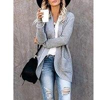 Maglione allentato di moda coreana a maniche lunghe autunno inverno Cardigan Casual stile semplice tinta unita da donna