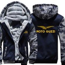 Moto Guzzi bluzy z kapturem kamuflaż rękaw kurtka z kapturem na zamek zima polar Moto Guzzi bluza