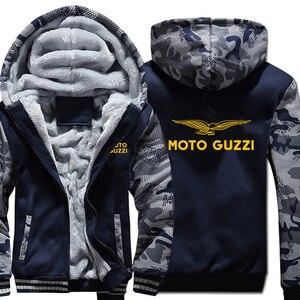 Image 1 - Moto Guzzi bluzy z kapturem kamuflaż rękaw kurtka z kapturem na zamek zima polar Moto Guzzi bluza