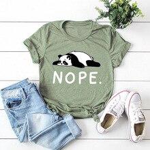 Summer Women T shirt Cotton Plus Size S-5XL Cute Lazy Panda Nope Print Short Sle