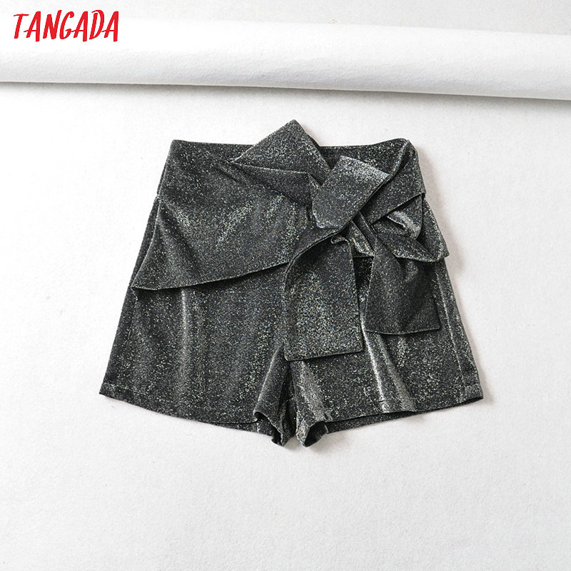 Tangada Women Silver Yarn Bow Pleated Skirt Shorts Sexy Back Zipper Female High Waist Ladies Casual Shorts 6A101