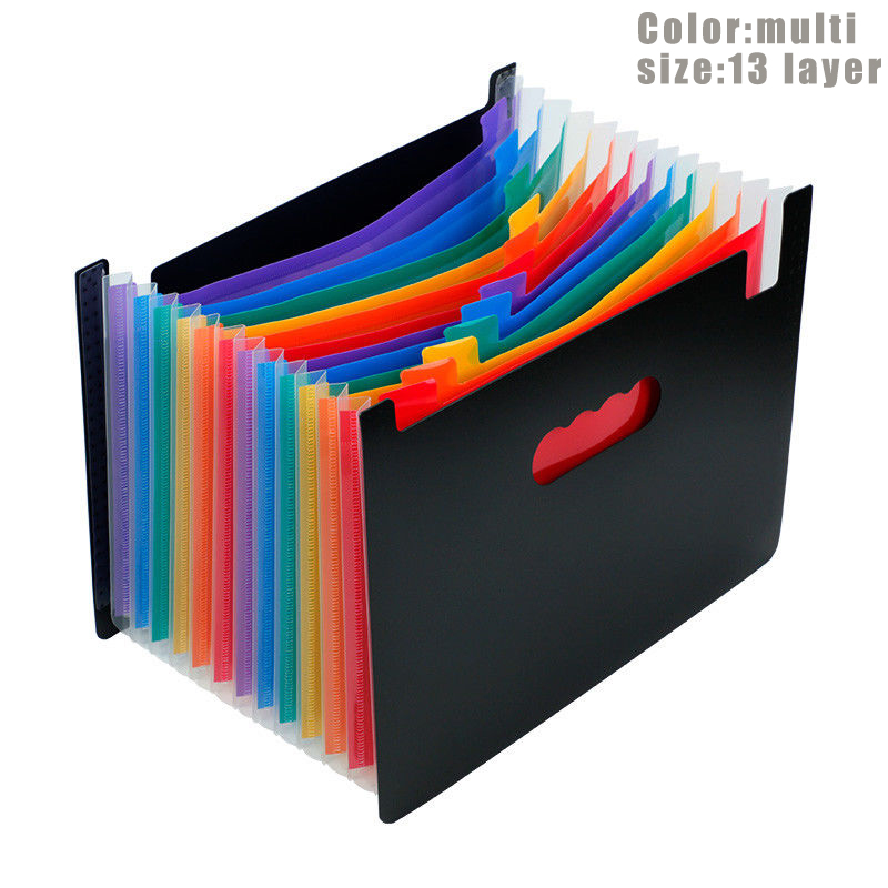 13/24 Pockets Expanding File Folder Works Accordion Office A4 Document Organizer GY88