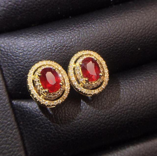 Ruby Earrings Real Pure 18 K Gold AU750 100 Nature pigeon blood red Ruby 0 75ct.jpg 640x640 - Ruby Earrings Real Pure 18 K Gold AU750 100% Nature pigeon blood red Ruby 0.75ct Female Earrings Fine Gift women Stud Earrings